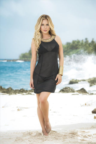 Mapale Womens Black Sheer with Beaded Metallic Collar Cover-up Beach Dress