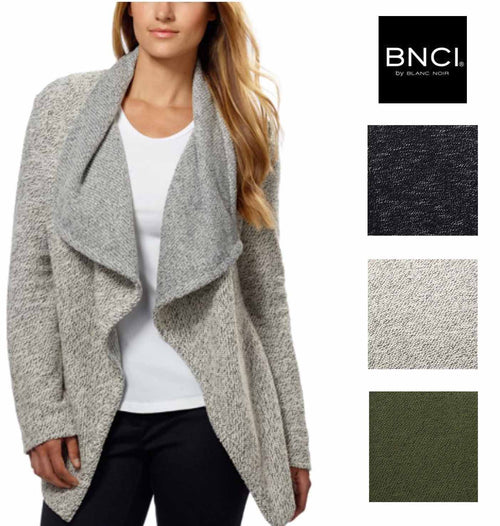 BNCI by Blanc Noir Women's Tweed Drape Front Shawl Collar Cardigan Sweater