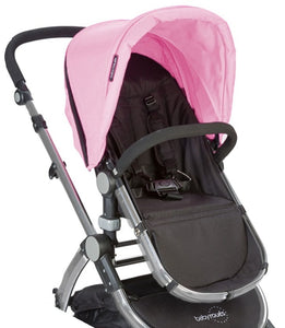 Babyroues Letour II Bassinet and Stroller in Pink Canvas on a Silver Frame-Stroller-Supreme Stroller