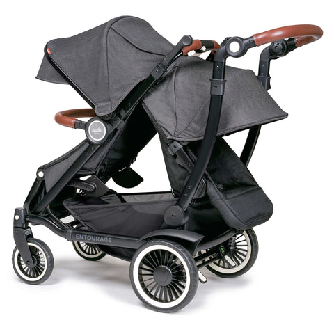 Austlen Entourage Double Stroller With Second Seat (Black)-Stroller-Supreme Stroller