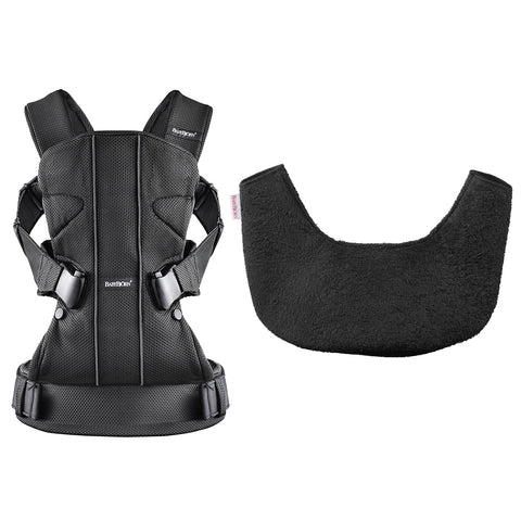 BABYBJÖRN Baby Carrier One (Black, Mesh) & Bib for One Bundle-Baby Carrier-Supreme Stroller