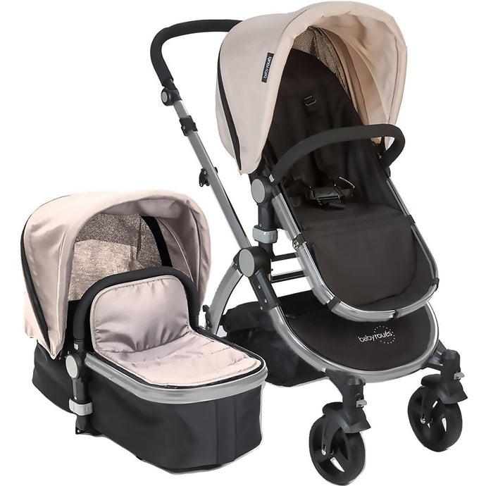 Babyroues Letour II Bassinet and Stroller in Tan Canvas on a Silver Frame-Stroller-Supreme Stroller