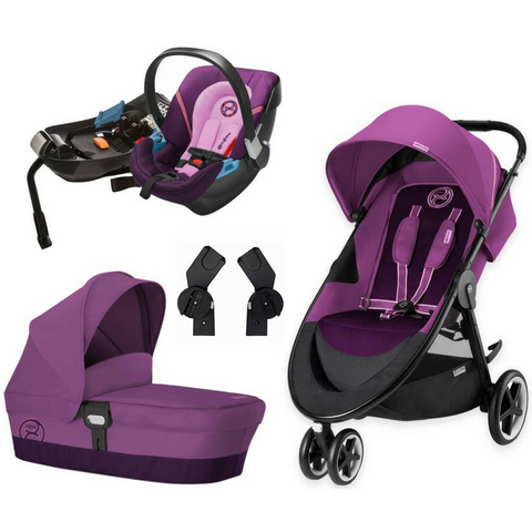 Cybex Agis M-Air3 Complete Stroller | Aton 2 Car Seat | Carry Cot M Bundle (Grape Juice)-Cybex-Supreme Stroller