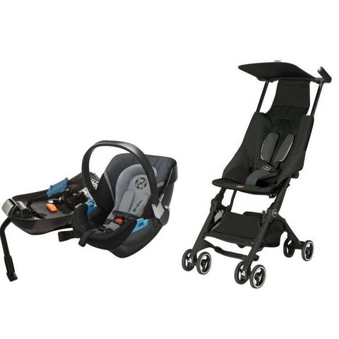 GB Pockit Stroller & Aton 2 Infant Car Seat Bundle (Monument Black)-Stroller-Supreme Stroller