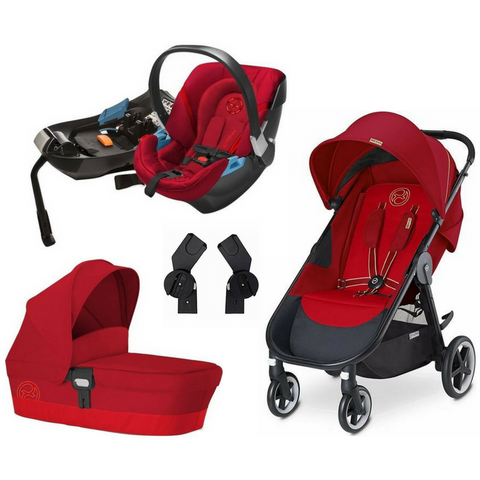 Cybex Agis M-Air4 Complete Stroller | Aton 2 Car Seat | Carry Cot M Bundle (Hot & Spicy)-Cybex-Supreme Stroller