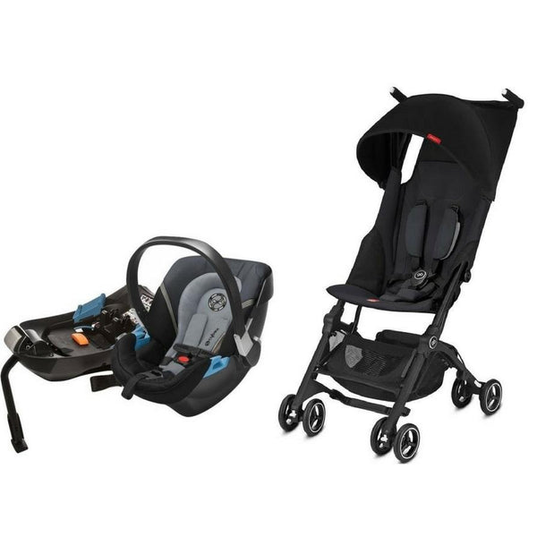 GB Pockit Plus Stroller & Aton 2 Infant Car Seat Bundle (Satin Black)-Stroller-Supreme Stroller