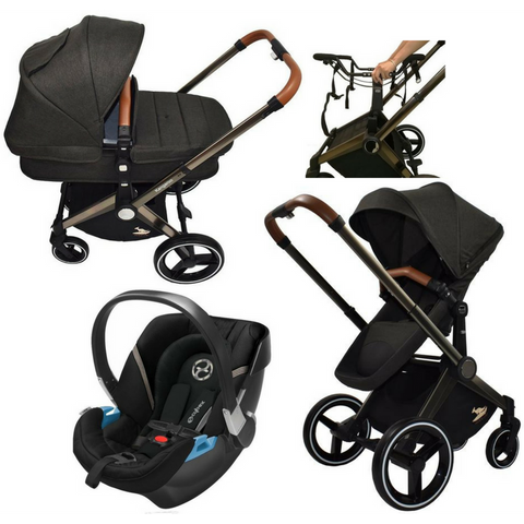 Venice Child Kangaroo Stroller | Aton 2 Car Seat | Carry Cot Bundle (Black)-Stroller-Supreme Stroller