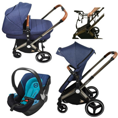 Venice Child Kangaroo Complete Stroller | Aton 2 Car Seat | Carry Cot Bundle (Blue)-Venice Child-Supreme Stroller