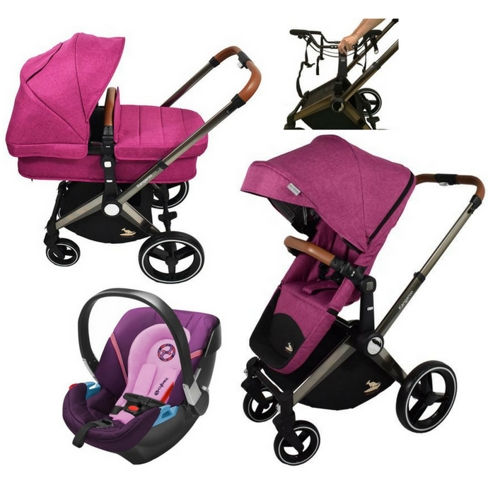 Venice Child Kangaroo Complete Stroller | Aton 2 Car Seat | Carry Cot Bundle (Purple)-Stroller-Supreme Stroller