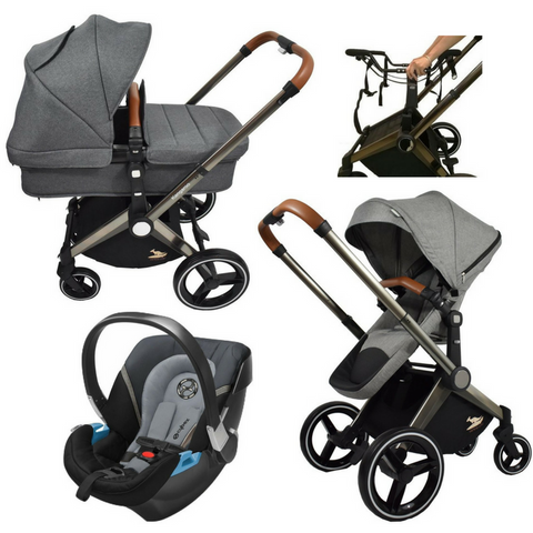 Venice Child Kangaroo Stroller | Aton 2 Car Seat | Carry Cot Bundle (Grey)-Stroller-Supreme Stroller