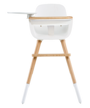 Micuna Ovo Max High Chair with Fabric Belts (White/Natural)-High Chair-Supreme Stroller