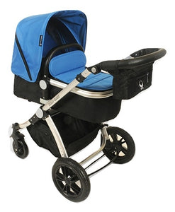 Babyroues Letour Avant Bassinet and Stroller in Cyan on a Silver Frame-Stroller-Supreme Stroller