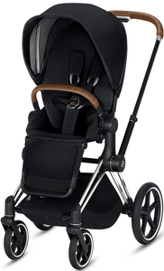 Cybex PRIAM 3-in-1 Travel System w/ Chrome Brown Frame (Premium Black)