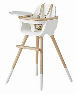Micuna Ovo Max Luxe High Chair with PU Leather Belts (White/Natural)-High Chair-Supreme Stroller