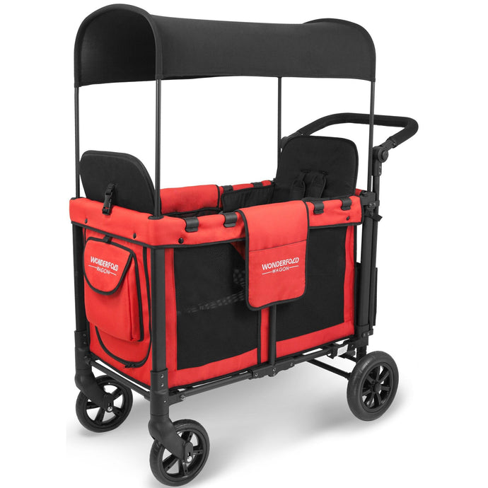 Wonderfold W2 Double Stroller Wagon (Red)-Stroller Wagon-Supreme Stroller