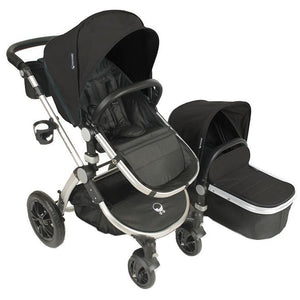 Babyroues Letour Avant Bassinet and Stroller in Black on a Silver Frame-Stroller-Supreme Stroller
