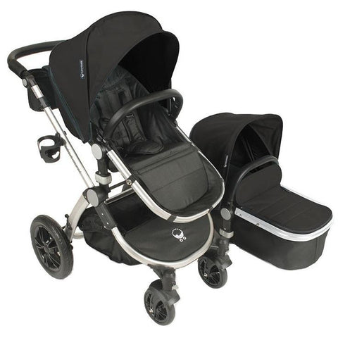 Babyroues Letour Avant Bassinet and Stroller in Black on a Silver Frame-Babyroues-Supreme Stroller