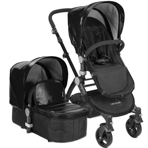 Babyroues Letour Lux II Bassinet and Stroller in Black Leatherette on a Black Frame-Babyroues-Supreme Stroller