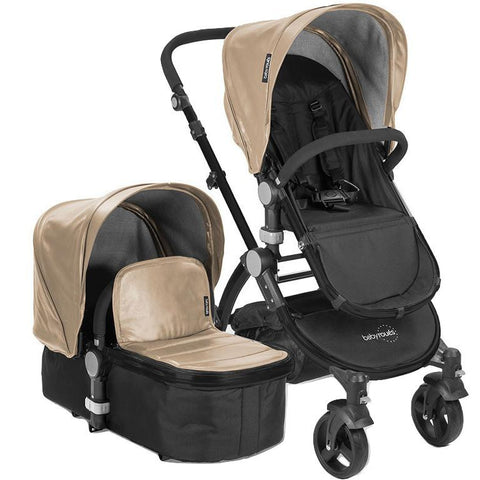 Babyroues Letour Lux II Bassinet and Stroller in Tan Leatherette on a Black Frame-Babyroues-Supreme Stroller