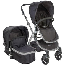 Babyroues Letour II Bassinet and Stroller in Black Canvas on a Silver Frame-Stroller-Supreme Stroller