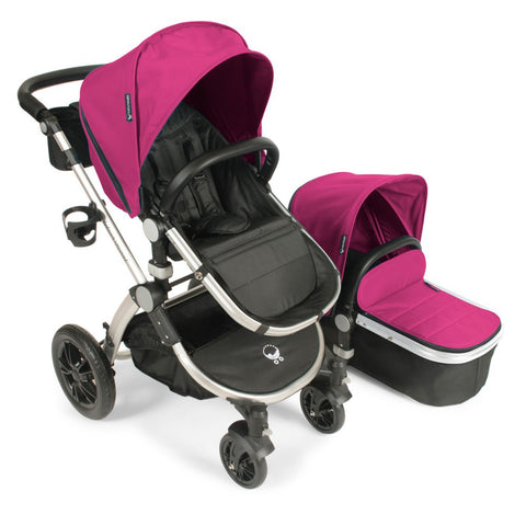 Babyroues Letour Avant Bassinet and Stroller in Pink on a Silver Frame-Babyroues-Supreme Stroller