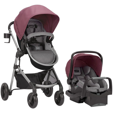 Evenflo Pivot Modular Travel System w/ SafeMax (Dusty Rose)-Travel System-Supreme Stroller