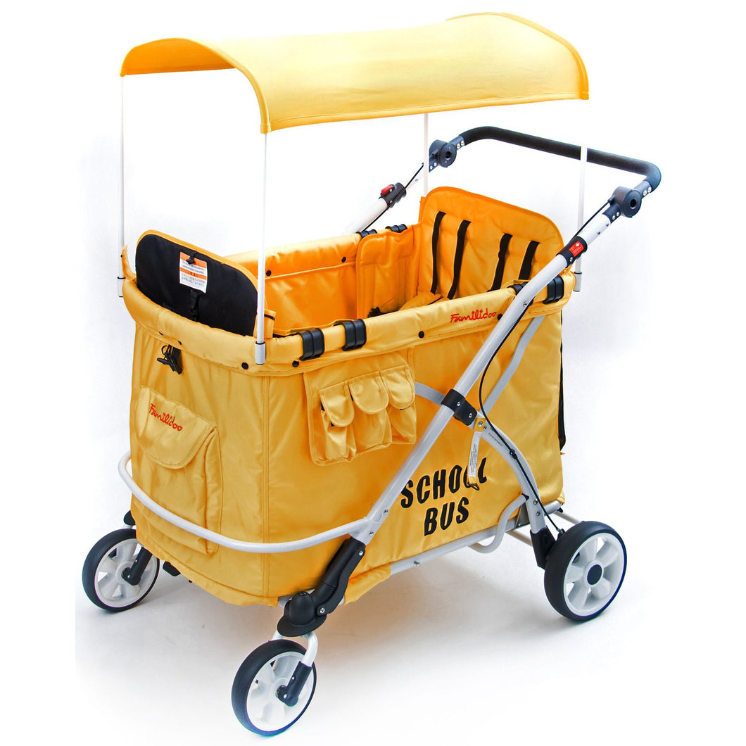Wonderfold MJ06 School Bus Stroller Wagon (Yellow)-Stroller Wagon-Supreme Stroller