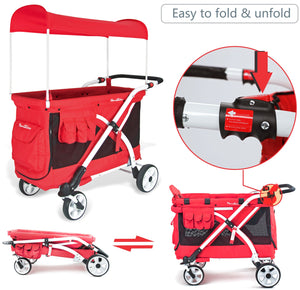 Wonderfold MJ04 Stroller Wagon (Red)-Stroller Wagon-Supreme Stroller