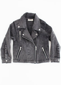 The Denim Biker Jacket - Black Denim
