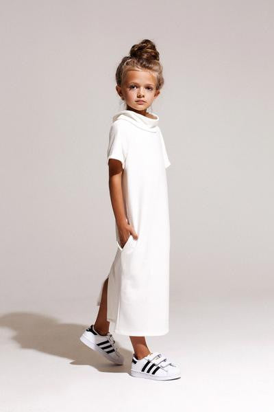 White Roll Midi Dress