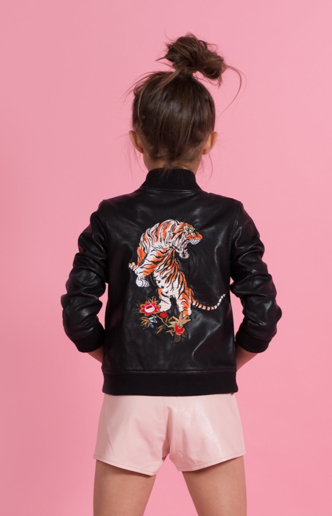 Tiger Bomber - Black Vegan Leather