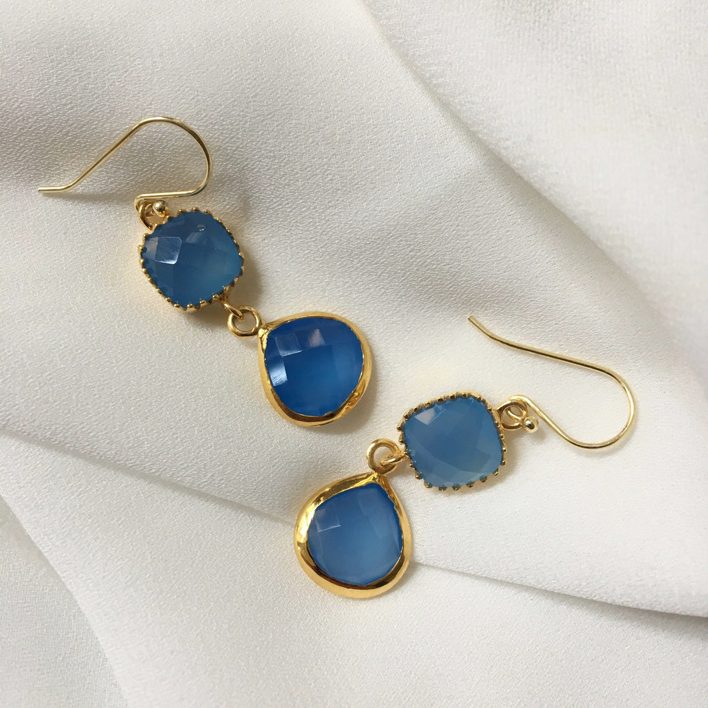 CHALCEDONY GOLDEN DESIGN EARRING #25