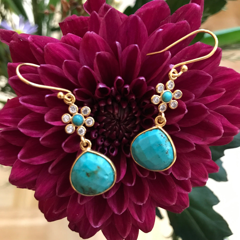 TURQUOISE GOLDEN DESIGN EARRING