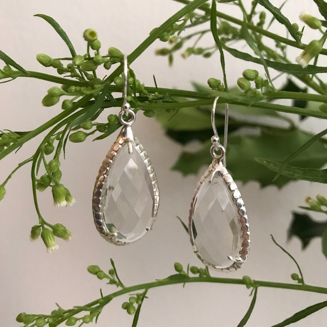 CRYSTAL SILVER DROP DESIGN EARRING