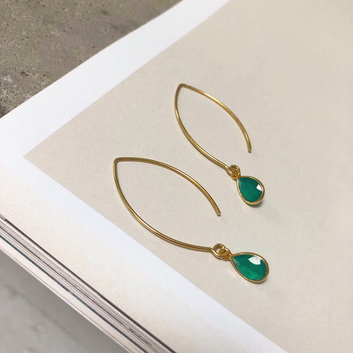LULU GREEN GOLDEN OVAL CREOL EARRING