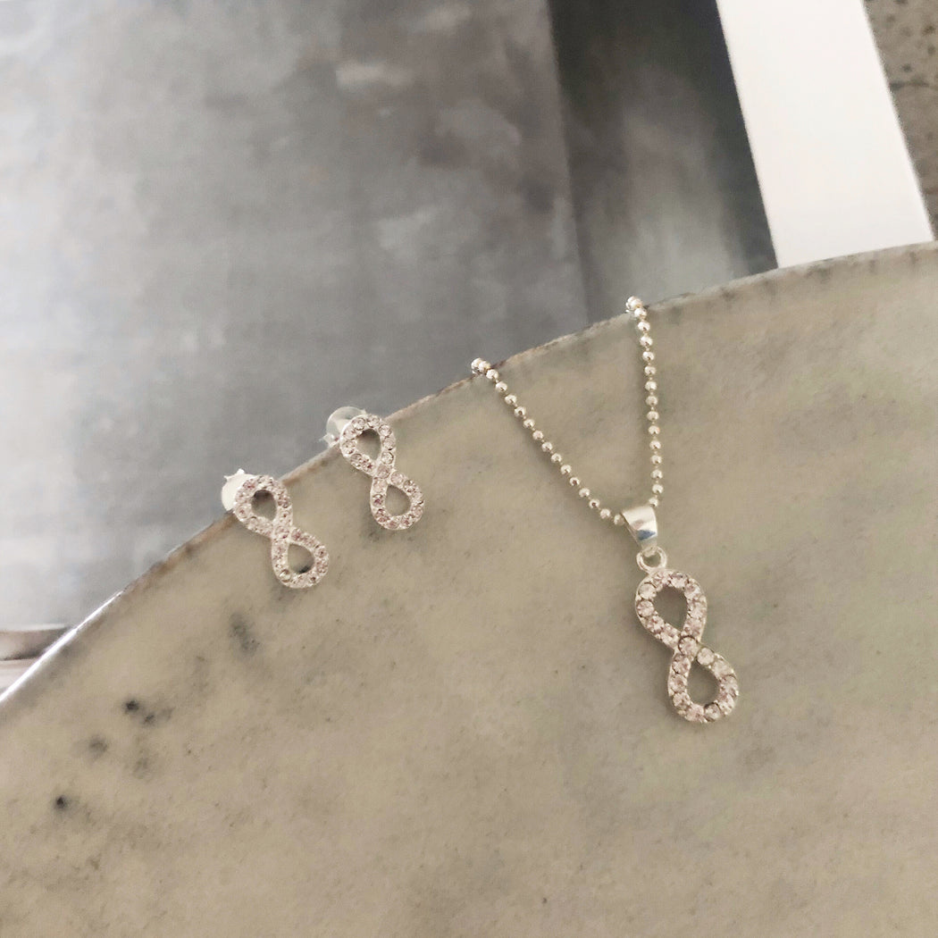 ANNELINE SILVER EARRING NECKLACE SET
