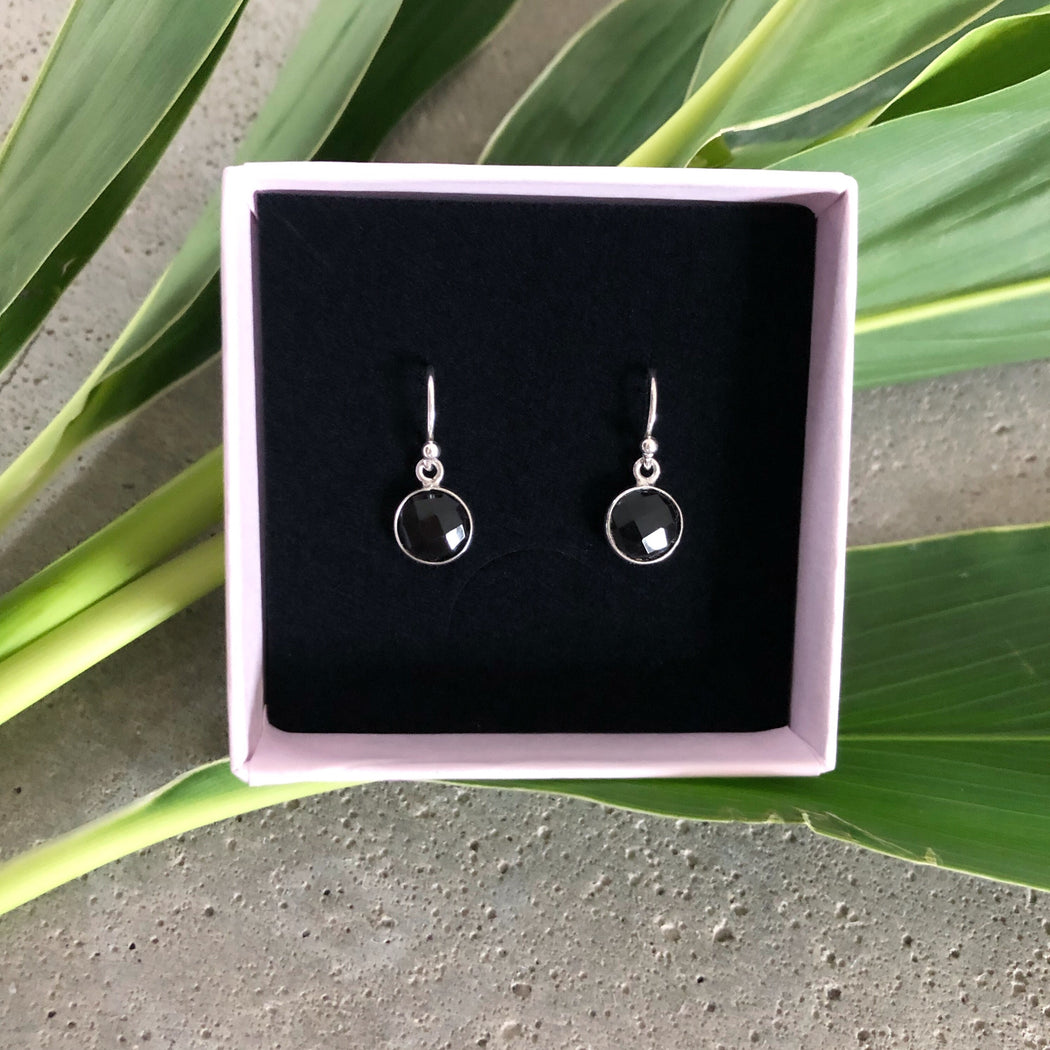 EVA BLACK SILVER EARRING