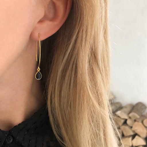 LULU BLACK GOLDEN OVAL CREOL EARRING