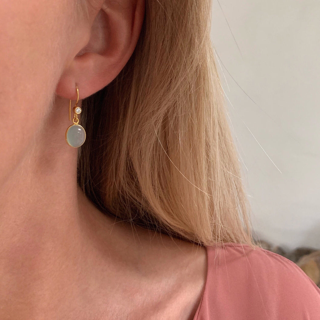 LUNA AZURE GOLDEN ZIRCONIA EARRING