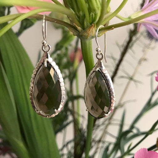 SMOKY QUARTZ SILVER DROP DESIGN EARRING