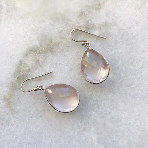 ROSE QUARTZ SILVER DROP DESIGN EARRING