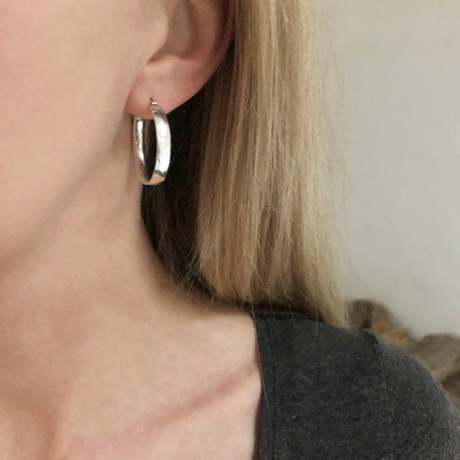 MILENA SILVER CREOL EARRING