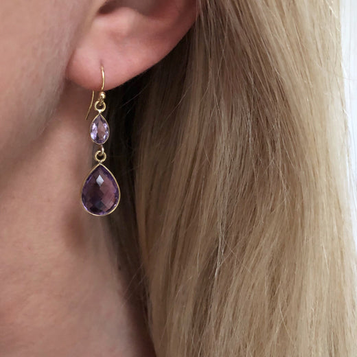 AMETHYST GOLDEN DESIGN EARRING #60