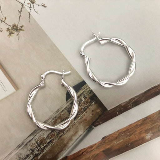 MIKALA SILVER CREOL EARRING