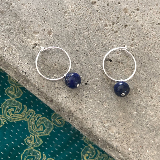 ELLIE BLUE SILVER CREOL EARRING
