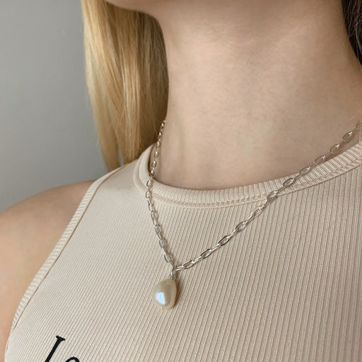 ALMA PEARL MEDIUM LINK SILVER CHAIN