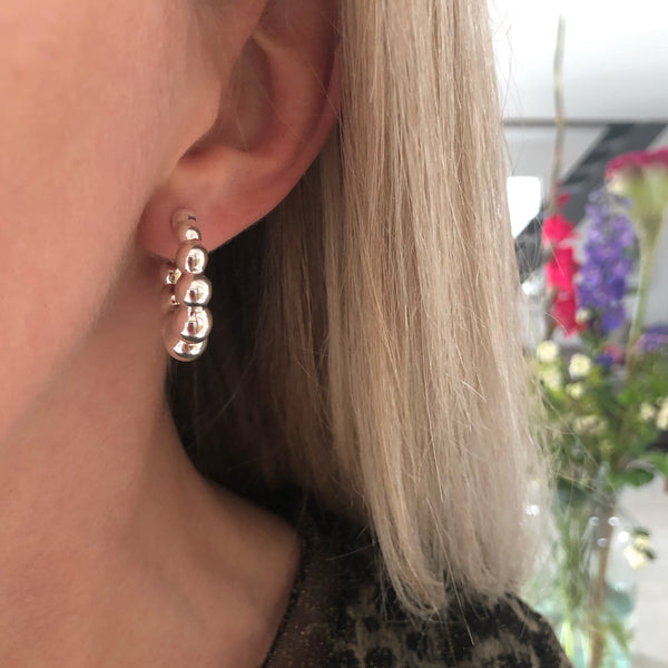 AGNETE SILVER CREOL EARRING