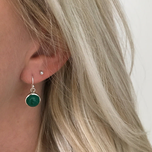 IDA GREEN SILVER EARRING