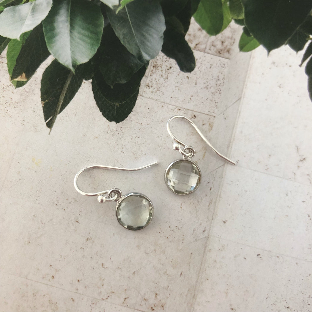 EVA PALE GREEN SILVER EARRING