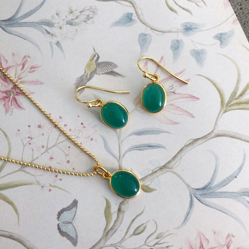 LUNA GREEN GOLDEN EARRING NECKLACE SET